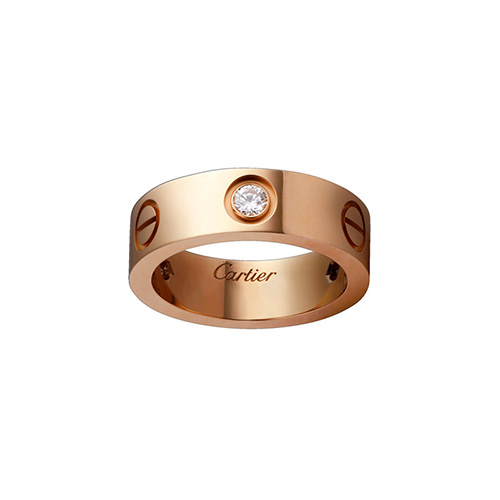 copy cartier love pink Gold ring mosaic three diamond wide version