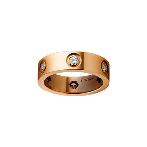 copy cartier love pink Gold ring 6 diamond wide version