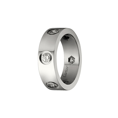 fake cartier love white gold ring 6 diamond wide version - Click Image to Close