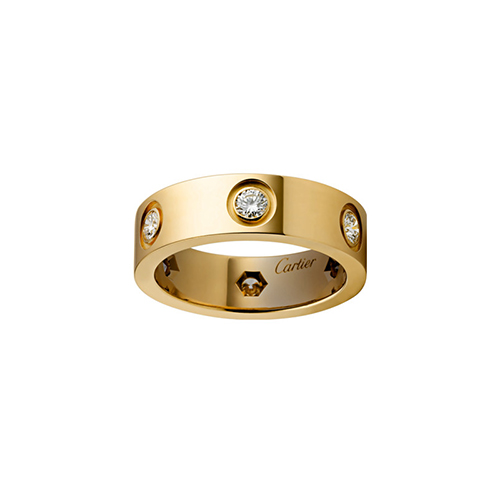 replica cartier love yellow gold ring 6 diamond wide version - Click Image to Close