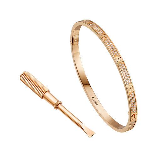 falso cartier love oro rosa bracciale SM set con diamanti taglio brillante