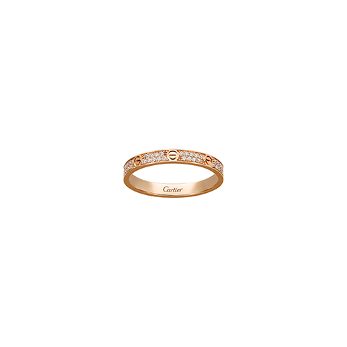 falso cartier love anello oro rosa SM Coperto di diamanti