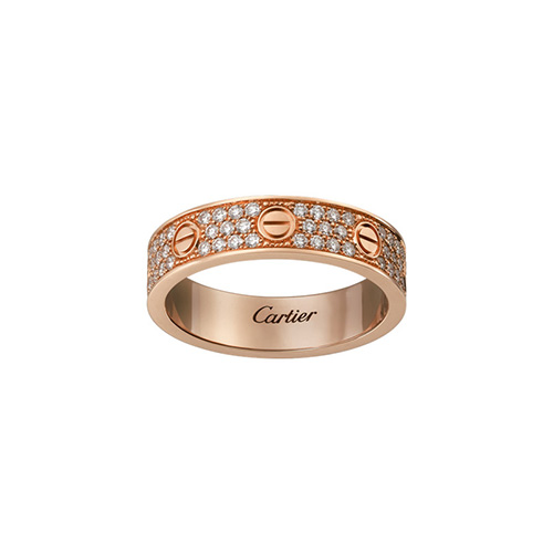 copy cartier love pink Gold covered diamond ring narrow version