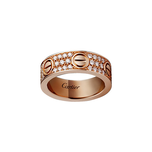 Kopie cartier love Rosa Gold Ring gedeckter Diamant breite Version