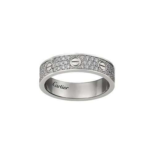 fake cartier love white gold covered diamond ring narrow version - Click Image to Close
