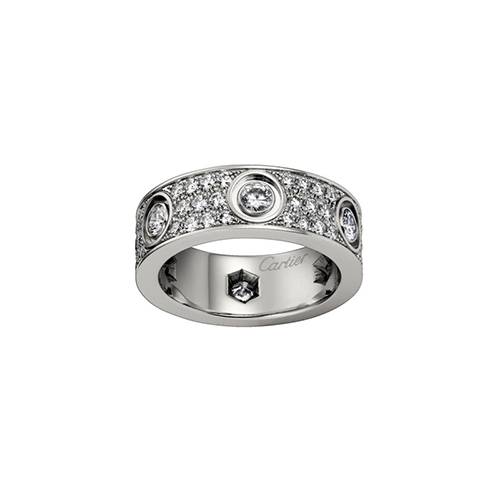 fake cartier love white gold ring cut diamonds wide version