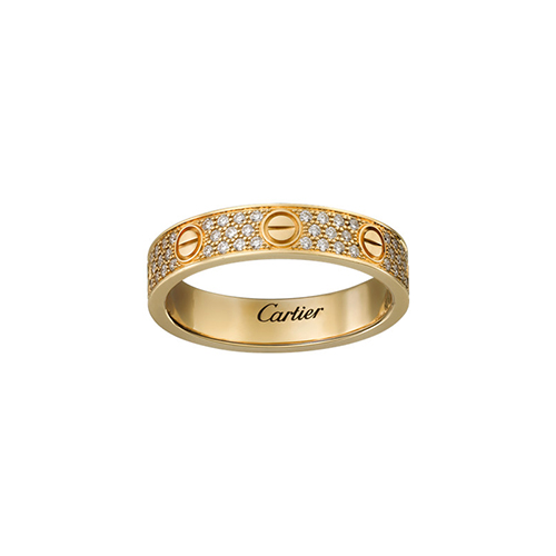 Replik cartier love gelbes Gold gedeckter Diamant Ring schmale Version