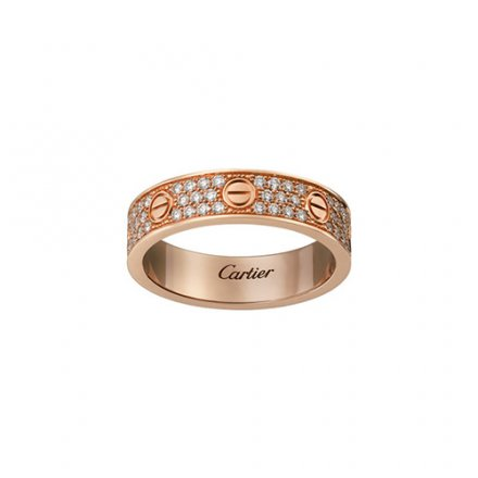 imitation cartier love Or rose diamant couvert bague version étroite
