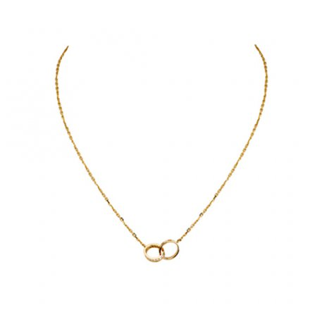 fake cartier love yellow gold necklace a ring covered with diamonds pendant