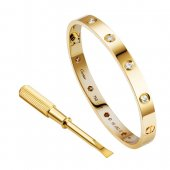 Cartier Love Bracelet Replica Yellow Gold With 10 Diamonds B6040617